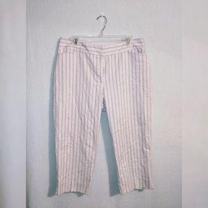 Karen Kane Cream Striped Capris size 12